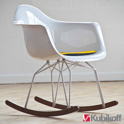 Kubikoff Diamond Rock Chair - Diamond Rock Chair features clear transparent or white polycarbonate shell with chromium-plated, white or black powder coated base and solid walnut legs.  Available with or without optional seat pads (sold separately).