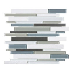 """Anatolia - Bliss Nordic Storm Random Linear Mosaic - Anatolia has created a winning streak of products in the various """"Bliss Series"""" it has manufactured. We're proud to present their newest line: Bliss Glass Stone Stainless. This stainless stone series features similar characteristics to the core foundation of the Bliss collection. There are 8 intricate colors to choose from, each mixed with stainless stone on a random linear mesh mosaic. This interesting combination will bring to life every backsplash and shower known to mankind!"""