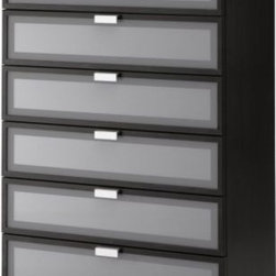 IKEA of Sweden - HOPEN 6-drawer chest - 6-drawer chest, black-brown, frosted glass