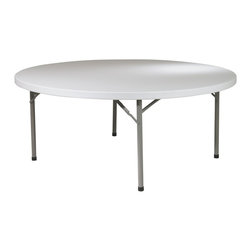 Office Star - 71-Inch Round Resin Multi-Purpose Folding Tab - This 71 inch round Multi-Purpose table features a durable resin construction and a sturdy metal frame.  This table will provide lots of space for any activity and can offer elegant seating for any party. * Resin construction. Metal Frame. 71  in. Dia x 29.25 in. H. 71  in. Dia x 29.25 in. H