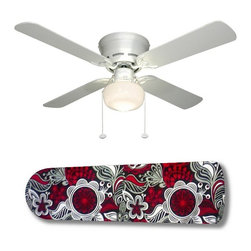"""Sabrina Red/Black 42"""" Ceiling Fan and Lamp - 42-inch 4-blade ceiling fan with a dome lamp kit that comes with custom blades. It has a white flushmount fan base. It has an energy efficient 3-speed reversible airflow motor for year long comfort. It comes with complete installation/assembly instructions. The blades can be cleaned with a damp cloth. It is made with eco-friendly/non-toxic products. This is brand new and shipped in the original box. This is not a licensed product, but is made with fully licensed products. Note: Fan comes with custom blades only."""