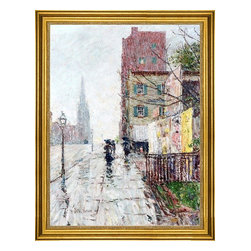 """Frederick Childe Hassam-18""""x24"""" Framed Canvas - 18"""" x 24"""" Frederick Childe Hassam A Rainy Day framed premium canvas print reproduced to meet museum quality standards. Our museum quality canvas prints are produced using high-precision print technology for a more accurate reproduction printed on high quality canvas with fade-resistant, archival inks. Our progressive business model allows us to offer works of art to you at the best wholesale pricing, significantly less than art gallery prices, affordable to all. This artwork is hand stretched onto wooden stretcher bars, then mounted into our 3"""" wide gold finish frame with black panel by one of our expert framers. Our framed canvas print comes with hardware, ready to hang on your wall.  We present a comprehensive collection of exceptional canvas art reproductions by Frederick Childe Hassam."""