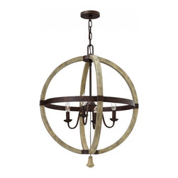 Fredrick Ramond - Fredrick Ramond Middlefield Traditional Sphere Chandelier X-RRI46504RF - Middlefield's rustic chic design captures a historical feel with its solid distressed wood and steel construction. Several styles feature a pear-shaped wood finial as an elegant detail that may be hung inside or outside the frame.