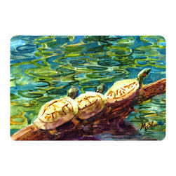 Caroline's Treasures - Turtle Kitchen or Bath Mat 24 x 36 - Kitchen or Bath Comfort Floor Mat This mat is 24 inch by 36 inch. Comfort Mat / Carpet / Rug that is Made and Printed in the USA. A foam cushion is attached to the bottom of the mat for comfort when standing. The mat has been permanently dyed for moderate traffic. Durable and fade resistant. The back of the mat is rubber backed to keep the mat from slipping on a smooth floor. Use pressure and water from garden hose or power washer to clean the mat. Vacuuming only with the hard wood floor setting, as to not pull up the knap of the felt. Avoid soap or cleaner that produces suds when cleaning. It will be difficult to get the suds out of the mat.