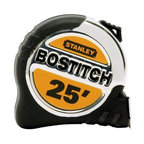 """Stanley Tools - 33001 25 Ft. Bi-Metal Tape Measure - BOSTITCH H-D TAPE RULES  1-1/4"""" width & 13 ft. Standout tape rule  150% larger end hook allows top & side grab  Mylar(R) with bladearmor(TM) blade coating -  helps to increase product life  airlock(TM) rubber slide lock  Bi-material case for durability & comfort  High visibility blade with large, easy-  to-read graphics    33001 25 FT. BI-MTL TAPE MEASURE  SIZE:1-1/4"""" x 25 Ft."""