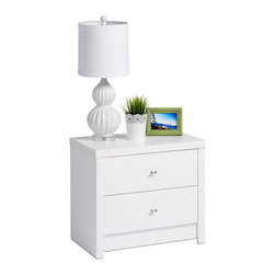 Prepac - Prepac Calla 2-Drawer Nightstand - Inspired by chic cosmopolitan design, the calla collection blends modern lines and elegant details. The 2-drawer nightstand is finished in pure white laminate and features diamond cut chrome knobs. Not content to get by on looks alone, this nightstand offers two sizeable drawers to meet your bedroom storage and organizational needs.