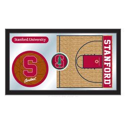 "Holland Bar Stool - Holland Bar Stool Stanford Basketball Mirror - Stanford Basketball Mirror belongs to College Collection by Holland Bar Stool The perfect way to show your school pride, our basketball Mirror displays your school's symbols with a style that fits any setting.  With it's simple but elegant design, colors burst through the 1/8"" thick glass and are highlighted by the mirrored accents.  Framed with a black, 1 1/4 wrapped wood frame with saw tooth hangers, this 15""(H) x 26""(W) mirror is ideal for your office, garage, or any room of the house.  Whether purchasing as a gift for a recent grad, sports superfan, or for yourself, you can take satisfaction knowing you're buying a mirror that is proudly Made in the USA by Holland Bar Stool Company, Holland, MI.   Mirror (1)"