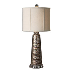 Uttermost - Nenana Rustic Table Lamp - This  rustic  contemporary  table  lamp  is  made  out  of  a  nickel  plated  mesh  design,  with  a  golden  bronze  glaze.  The  round  lamp  shade  is  an  oatmeal  linen  fabric,  making  this  unique  accent  lamp  great  for  any  home  or  office.  Click  here  to  see  all  of  the  rustic  lamps  we  offer.