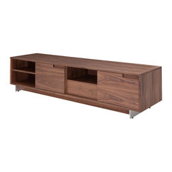 Nuevo Living - Adam Media Unity in Walnut by Nuevo - HGSD525 - The Adam media unit in Walnut veneer is the perfect low profile, wide entertainment center that is packed with tons of storage and features to satisfy your media console needs.  Also available in matte white lacquer.