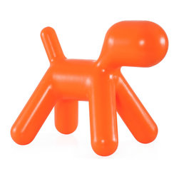 Zuo - Pup Chair, Orange - The Pup chair is the perfect pet for any space - especially for the kids.  This durable chair is also low maintenance and is easy to wipe down as needed.  Available in red, green and orange.