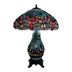 Warehouse of Tiffany - Tiffany-style Dragonfly Lamp with Lighted Base - Accentuate and illuminate your home's decor with this Tiffany-style dragonfly table lamp with a lighted base.