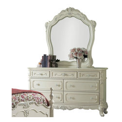 Homelegance - Homelegance Cinderella Kids' Dresser with Mirror in White - The Cinderella collection is your little Child's dream. The Victorian styling incorporates floral motif hardware, ecru painted finish and traditional carving details that will create the feeling of a room worth of a fairy tale princess.