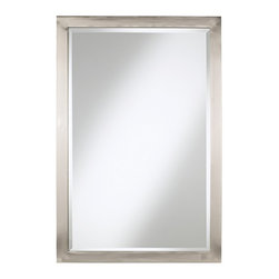 """Possini Euro Design - Contemporary Possini Euro Metzeo 33"""" High Rectangular Metal Mirror - The beauty of simplicity is celebrated with this rectangular mirror design. The brushed nickel finish is contemporary and light. A great choice for use over a bathroom vanity or sink. From Possini Euro Design home collection. Brushed nickel finish. Metal construction. Can be hung vertically or horizontally. Beveled mirror. Inner mirror is 30"""" high and 18 3/4"""" wide. 33"""" high. 22"""" wide. Monster  Brushed nickel finish.   Metal construction.   Rectangular mirror shape.  Can be hung vertically or horizontally.   Beveled mirror glass.   Inner mirror is 30"""" high and 18 3/4"""" wide.   33"""" high.   22"""" wide."""