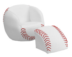Flash Furniture - Flash Furniture Kids Baseball Chair and Footstool - Kids will now get to enjoy furniture designed specifically for their size! This sports inspired furniture will have your little one enjoying the game in their new favorite seat! This fun set features a chair and footstool. The footstool fits snug inside the chair for a clean appearance or for easy transporting. The vinyl upholstery ensures easy cleaning after accidents or for quick wipe offs.