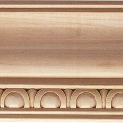 "Inviting Home - Newton Carved Crown Molding (large) - red oak wood - Oak hardwood crown molding 3-9/16""H x 3""P x 4-5/8""F sold in 8 foot length (3 piece minimum required) Hand Carved Wood Molding specification: Outstanding quality molding profile milled from high grade kiln dried American hardwood available in bass hard maple red oak and cherry. High relief ornamental design is hand carved into the molding. Wood molding is sold unfinished and can be easily stained painted or glazed. The installation of the wood molding should be treated the same manner as you would treat any wood molding: all molding should be kept in a clean and dry environment away from excessive moisture. acclimate wooden moldings for 5-7 days. when installing wood moldings it is recommended to nail molding securely to studs; pre-drill when necessary and glue all mitered corners for maximum support."