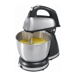 Hamilton Beach - Stand Hand Mixer - This brushed stainless steel stand mixer with six speeds and Quick Burst button makes mixing easy with 290 Watts of peak power.