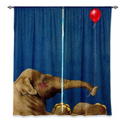 "DiaNoche Designs - Window Curtains Unlined - Will Bullas The Red Balloon - DiaNoche Designs works with artists from around the world to print their stunning works to many unique home decor items.  Purchasing window curtains just got easier and better! Create a designer look to any of your living spaces with our decorative and unique ""Unlined Window Curtains."" Perfect for the living room, dining room or bedroom, these artistic curtains are an easy and inexpensive way to add color and style when decorating your home.  The art is printed to a polyester fabric that softly filters outside light and creates a privacy barrier.  Watch the art brighten in the sunlight!  Each package includes two easy-to-hang, 3 inch diameter pole-pocket curtain panels.  The width listed is the total measurement of the two panels.  Curtain rod sold separately. Easy care, machine wash cold, tumble dry low, iron low if needed.  Printed in the USA."