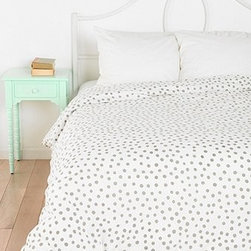 Plum & Bow Polka Dot Duvet Cover, Gray - I like to have neutral bedding and then add color in small doses with things like throw pillows or lamps on the nightstand. This dotty duvet is just right.