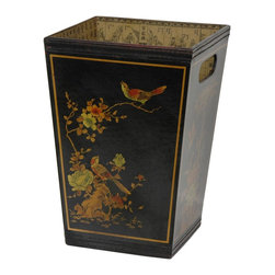Oriental Furniture - Black Lacquer Trash Bin - Tapered waste paper basket with punched handles. Finished in medium gloss black lacquer and hand painted with an authentic Ming era art design. The inside of the basket is lined with a distinctive Asian decoupage. Great for the office or an Asian themed bathroom. From our new collection of Ming lacquer furnishings and decor.