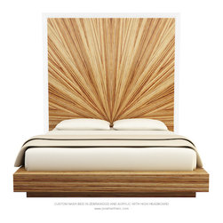 JONATHAN FRANC - NASH TALL BED by Jonathan Franc - NASH TALL BED shown in Zebrawood and Acrylic.   Available in an Eastern King, Cal King, and Queen sizes, as well as in custom sizes and finishes.