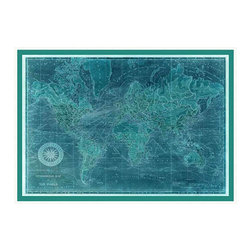 Turquoise World Framed Map - Entrancing fine details fascinate while the rich color of the Turquoise World Framed Map makes this a wall art piece for the transitional home where grandeur comes from a sense of provenance and heritage. Grand enough to preside over a wall at nearly four feet wide, this high-impact monochrome map comes in a neat white frame to contain its jewel-toned intensity.