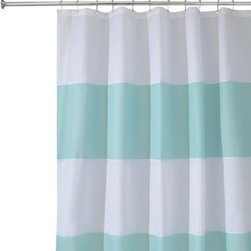 InterDesign Zeno Shower Curtain, Blue/White - Place a plain white shower curtain in between two of these stripe shower curtains (you'll have three shower curtains in a row), and you'll get the illusion that you have a very large shower — even if you don't. Plus, it's fun to mix it up a little!