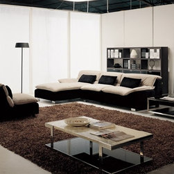 Dion Two-Toned Fabric Sectional - This contemporary sectional features extra soft padded seats and includes all three distinct pieces