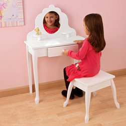 KidKraft - KidKraft Medium Diva Bedroom Vanity Set - 13009 - Shop for Vanities from Hayneedle.com! Your little star will absolutely adore the KidKraft Medium Diva Bedroom Vanity Set. This cute vanity and stool will provide endless hours of entertainment for your child. The make-up vanity is finished in a lovely white lacquer and has beautiful ;Queen-Anne style legs. On top of the rubberwood vanity is a fun oval mirror made of unbreakable Plexiglas.On either side of the mirror are shelves for anything your little one chooses. There is also a drawer in the table for storing all of her things. This dressing table set requires some assembly.For ages 3-8.About KidKraftKidKraft is a leading creator manufacturer and distributor of children';s furniture toy gift and room accessory items. KidKraft's headquarters in Dallas Texas serve as the nerve center for the company's design operations and distribution networks. With the company mission emphasizing quality design dependability and competitive pricing KidKraft has consistently experienced double-digit growth. It's a name parents can trust for high-quality safe innovative children's toys and furniture.