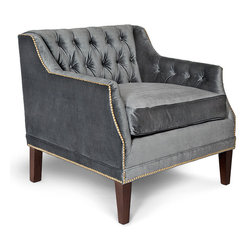 Kathy Kuo Home - McCartney Hollywood Regency Tufted Charcoal Grey Velvet Armchair - Intriguing and inviting, the tufted velvet armchair beautifully sets the scene whether you're entertaining guests or enjoying a cozy night in with the family. The classic shape gets a royal velvet treatment with an oversized, dark grey upholstered cushion. Dark wood legs finish off this romantic, traditional chair. Made to order in the USA, please allow 6-8 weeks of production.