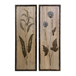 CKI Hansel Floral Study on Wood - Set of 2 - Reminiscent of pressed botanicals, the Hansel floral study on wood has a raised texture and a mesmerizing quality. Set of 2.