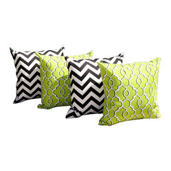 Land of Pillows - Drammen Lime Green and Zig Zag Black Outdoor Throw Pillow - 4 PK, 18x18 - Fabric Designer - Mill Creek