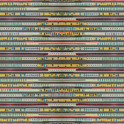 Domestic Construction - Stripe Down Floor Mat, Small - The colorful stripes in this floor mat make up an eye-catching design reminiscent of tribal weavings from the American Southwest. The digital reproduction is based on a paper design, and the machine-washable fabric ensures it is sturdy enough for daily use. It's a great way to infuse your entryway with style and personality.