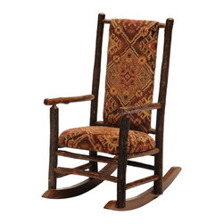 Fireside Lodge Furniture - Hickory Rocking Chair w Upholstered Seat & Ba - Fabric: Palamino TobaccoHickory Collection. Upholstered seat and back for superior comfort. Clear-coat catalyzed lacquer finish for extra durability. All Hickory Logs are bark on and kiln dried to a specific moisture content. Individually hand crafted. 2-Year limited warranty. 25 in. W x 36 in. D x 44 in. H (45 lbs.)