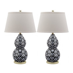 Safavieh - Cross-Hatch Double Gourd Lamp (Set Of 2) LIT4094 - Black - Inspired by a classic pottery form, this single gourd ceramic lamp with extra-long neck lends a stately but contemporary presence in any room. Shown in light grey with brushed gold base and neck, this artful lamp is complemented with a contemporary white cotton drum shade.