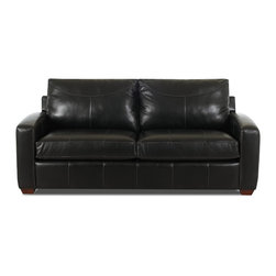Savvy - Boulder Leather Queen Sleeper Sofa in Durango Black, Durango Black, Queen Sleepe - Boulder Leather Queen Sleeper Sofa in Durango Black