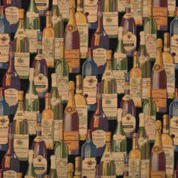 French and Italian Wine Bottles Themed Tapestry Upholstery Fabric By The Yard - P0910 is an upholstery grade tapestry novelty fabric. This fabric is excellent for cabins, lodges, homes and commercial uses.