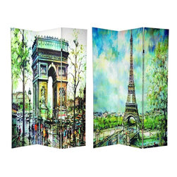 Oriental Furniture - 6 ft. Tall Double Sided Paris Room Divider - A very attractive room divider, with simple, beautiful renderings of some of Paris' most famous architecture. The images are beautifully printed onto excellent quality poly-cotton canvas, and carefully stretched onto three mitered wood frames.