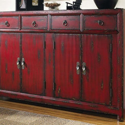 Hooker Furniture - Seven Seas Asian Cabinet in Rich Red Finish - Handpainted. Four drawers. Four doors with one adjustable shelf. 0.75 in. door thickness. Adjustable levelers. Made from hardwood solids and veneers. Doors: 11.38 in. W x 25.56 in. H. Door opening: 27.81 in. L x 14.56 in. W x 25.81 in. H. Shelves: 27.69 in. L x 13.63 in. W. Shelf thickness: 0.75 in.. Overall: 58.25 in. W x 15.5 in. D x 40.25 in. H. Assembly Instructions
