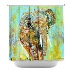 DiaNoche Designs - Shower Curtain Artistic - Elephant - DiaNoche Designs works with artists from around the world to bring unique, artistic products to decorate all aspects of your home.  Our designer Shower Curtains will be the talk of every guest to visit your bathroom!  Our Shower Curtains have Sewn reinforced holes for curtain rings, Shower Curtain Rings Not Included.  Dye Sublimation printing adheres the ink to the material for long life and durability. Machine Wash upon arrival for maximum softness. Made in USA.  Shower Curtain Rings Not Included.