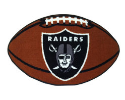 Fanmats - NFL Oakland Raiders Football Shaped Floor Accent Rug - Features: