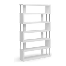 Symmetry 6-Tiered Bookshelf in White - Display books, picture frames, and other treasures in an organized fashion with the Symmetry 6-Tiered Bookshelf. Made in Malaysia, this piece has striking chromed steel side supports and is perfect for adding artful, modern style to your living room, bedroom, or office.