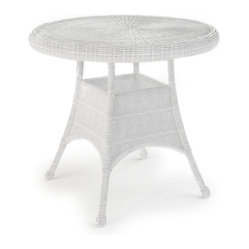 "Rockport Wicker Patio 30"" Round Dining Table, White"