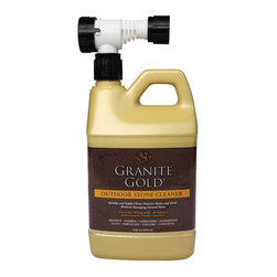 Granitegold - Granitegold Outdoor Patio Granite Gold Outdoor Stone Cleaner - 4 Pack - Cleaning stone patios, driveways and walkways is easier and safer with Granite Gold Outdoor Stone Cleaner. This granite cleaner for outdoors quickly and safely deep-cleans all natural stone and concrete patios, decks, walkways and driveways without damaging natural stone, unlike typical outdoor cleaners. The outdoor granite cleaner comes in a unique package that simply attaches to a garden hose for easy spraying and cleaning. Non-toxic. . Non-acidic. . pH Balanced. Biodegradable. . No phosphates or ammonia. . Will not harm plants, pets or home exteriors. .