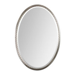 Brushed Nickel Oval Beveled Glass Mirror - Brushed Nickel Oval Beveled Glass Mirror