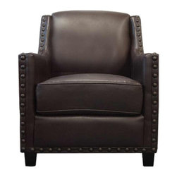 Urban Home Carson Club Chair - Solid Hardwood Construction. Features leather match in dark chocolate brown with extra large nail head trim.