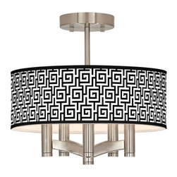 "Giclee Glow - Asian Greek Key Ava 5-Light Nickel Ceiling Light - Sleek and elegant this beautiful ceiling light will make your home glow with style. A brushed nickel finish complements the clean lines while five lights make this fixture a delightfully bright and versatile choice for any style of home decor. This stylish fixture is custom made to order and features a beautiful Greek Key pattern giclee-printed onto the drum shade. U.S. Patent # 7347593. Brushed nickel finish. Greek Key pattern printed shade. Semi-flushmount design. Five 60 watt candelabra bulbs (not included). 14"" wide. 13 1/2"" high. Shade only is 14"" wide 5"" high. Canopy is 5"" wide.  Brushed nickel finish.  Greek Key pattern printed shade.  Semi-flushmount design.  Five 60 watt candelabra bulbs (not included).  14"" wide.   13 1/2"" high.   Shade only is 14"" wide 5"" high.   Canopy is 5"" wide."