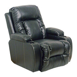 Catnapper - Catnapper Top Gun Bonded Leather-Power Chaise Recliner Chair in Black - Catnapper - Recliners - 6420120308300308