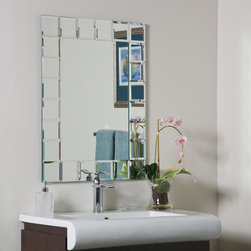 """Decor Wonderland Mirrors - Decor Wonderland Montreal Modern Bathroom Mirror - The Montreal modern wall mirror was inspired by European contemporary design. This bold and beautiful mirror is a center piece that commands attention in any room; living room, main entrance or bathroom. The Montreal wall mirror is hand crafted with each square featuring a 1/2"""" inch border, truly one of a kind, hand made, in the world of home accessories and design."""