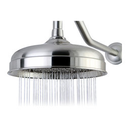 "DecorSuite - Victorian 8"" Raindrop Showerhead, Polished Chrome - Fabricated from solid brass material for durability and reliability; Premium color finish resists tarnishing and corrosion; 8-Inch diameter spray face; Rain drop shower pattern."
