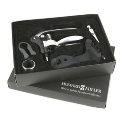 Howard Miller - 6 Pc Wine Serving Kit w Black Accents - Six piece wine serving kit includes a lever-style nickel finished corkscrew with black stand, foil cutter, absorbent drip ring, chrome bottle stopper, and spare corkscrew worm. The set comes in a handsome matte black gift box with ���Howard Miller Wine & Spirits Furniture Collection� stamped in silver. Sold in master-pack quantities of 8 sets per carton